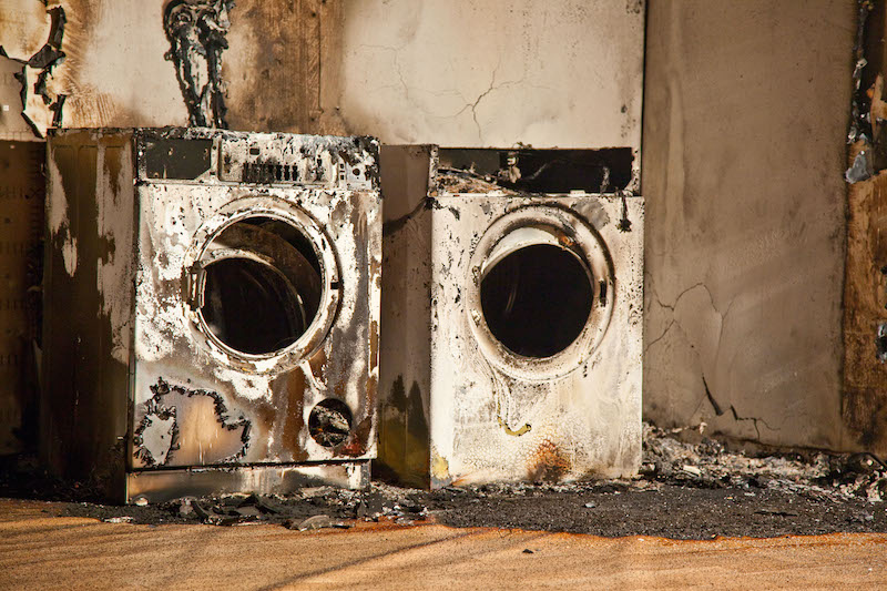 burnt out washing machine and tumble drier
