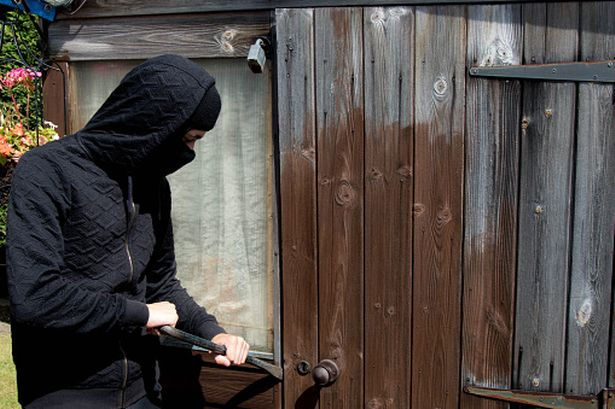 burglar breaking into shed