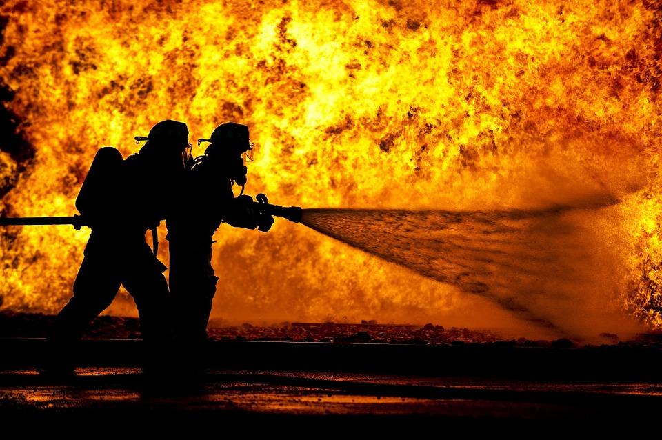 Firemen putting out a fire