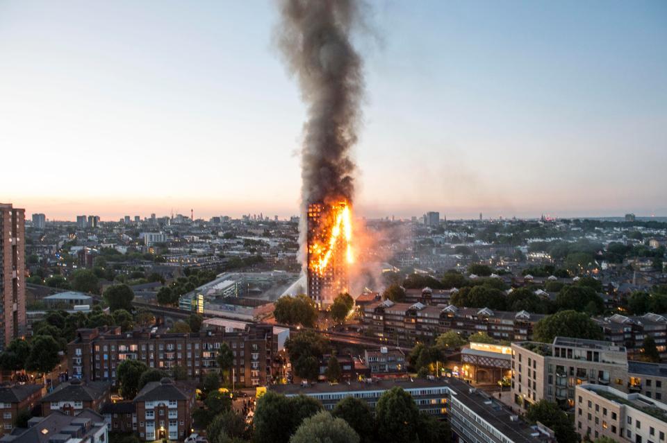 Burning Grenfell Tower