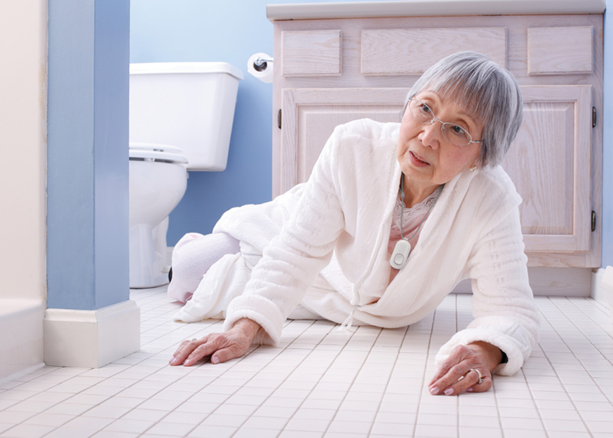 Elderly lady on floor