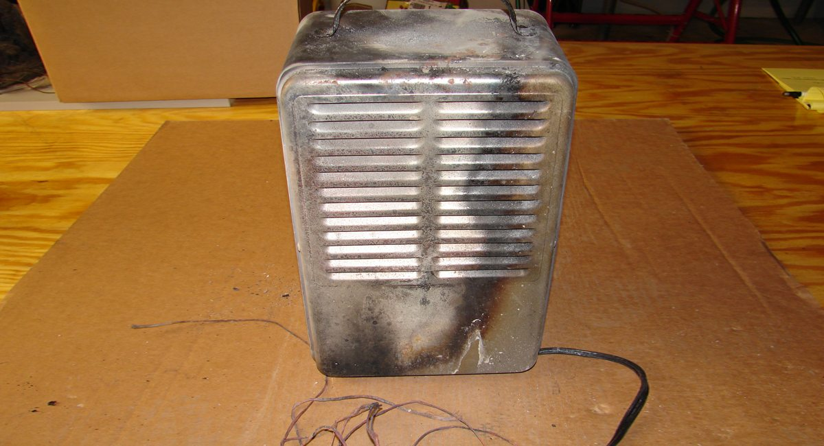 portable heater burned