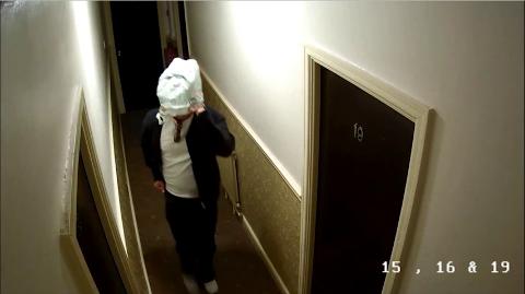 Burglar removes disguise