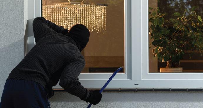 Burglar staring into house